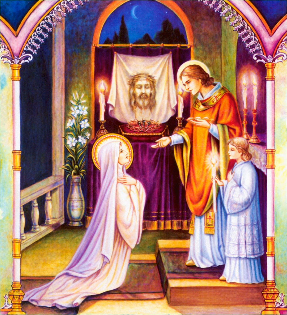 ST. JOHN GIVING HOLY COMMUNION TO OUR LADY
