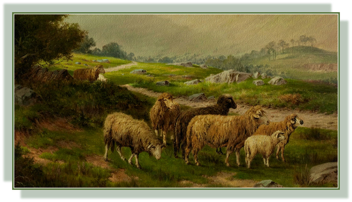 NINETEENTH CENTURY PAINTING OF SHEEP GRAZING