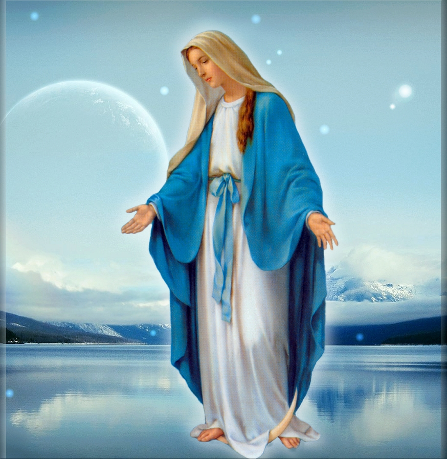 OUR LADY DRESSED IN BLUE BUTTONIZED EDGE